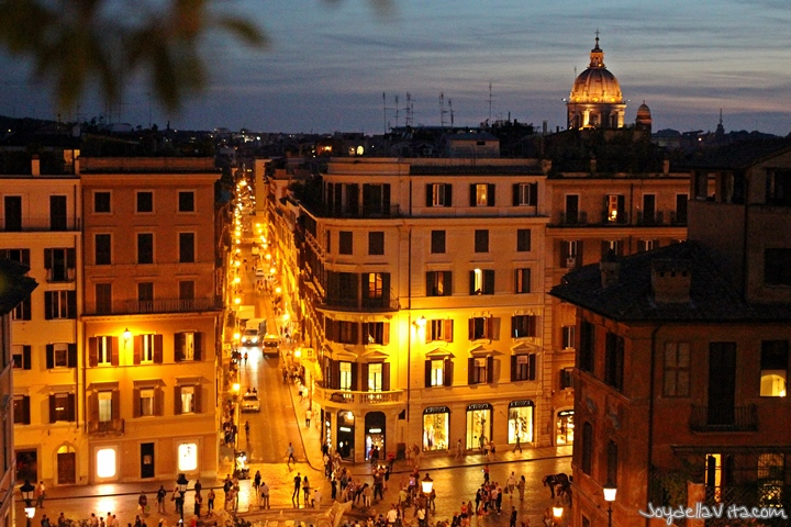 Spanish Steps in Rome during Day and Night
