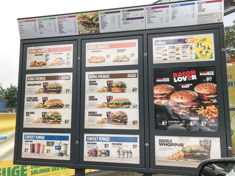 Burger King Germany Price list / Menu
