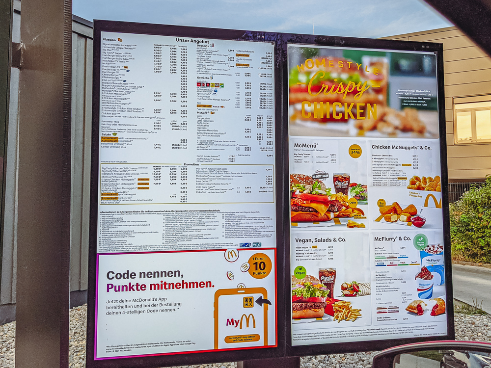 McDrive Germany Mc Donalds Drive In Price Board List