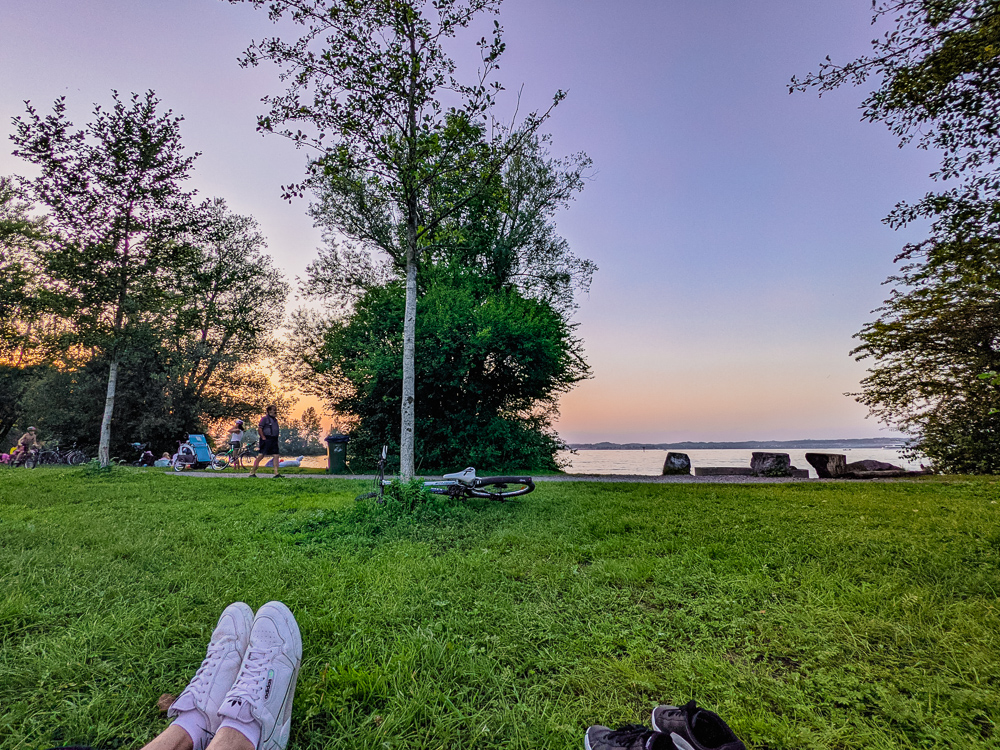 Sunset picnic at Lake Constance in Hard, Vorarlberg